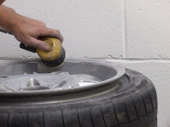 Sanding the rest of the wheel.